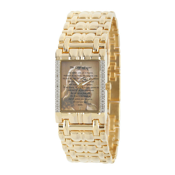 Personalized Mens Diamond-Accent Gold-Tone The Lord's Prayer Watch