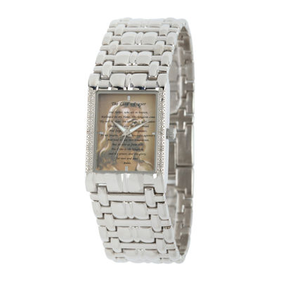 Personalized Mens Diamond-Accent Silver-Tone The Lord's Prayer Watch