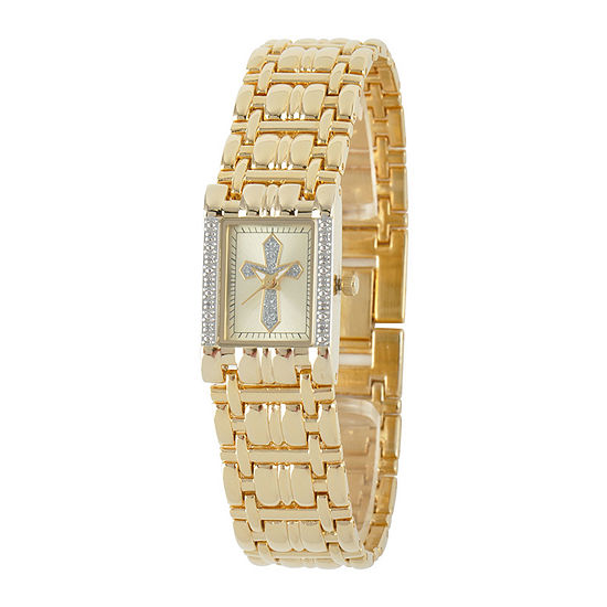 Personalized Womens Diamond-Accent Rectangular Gold-Tone Cross Bracelet Watch