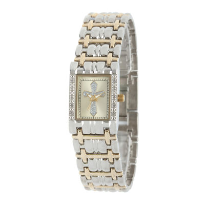 Personalized Womens Diamond-Accent Rectangular Two-Tone Cross Bracelet Watch