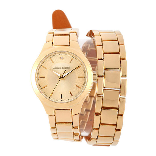 Personalized Dial Womens Diamond-Accent Gold-Tone Wrap Bracelet Watch