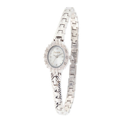 Personalized Dial Womens Diamond-Accent Oval Silver-Tone Bracelet Watch
