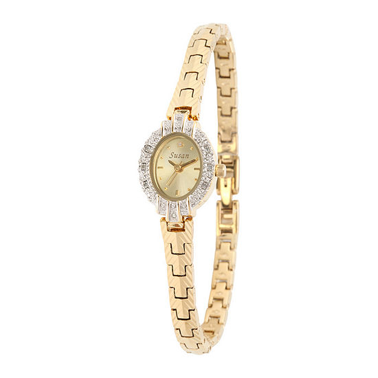 Personalized Dial Womens Diamond Accent Oval Gold Tone Bracelet Watch