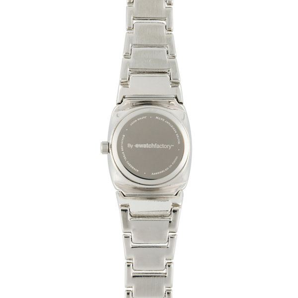 Personalized Dial Womens Diamond-Accent Silver-Tone Bracelet Watch