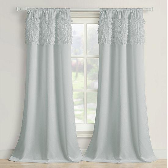 Bella Valenti Walden Leaves Embellished Light-Filtering Rod-Pocket Single Curtain Panel