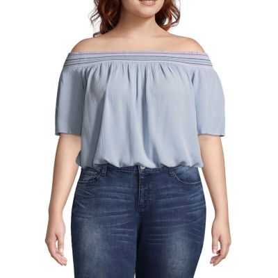 Arizona Off the Shoulder Banded Woven Blouse-  Juniors Plus