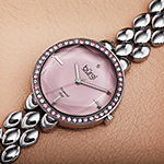 Burgi Womens Diamond Accent Crystal Accent Silver Tone Bracelet Watch-B-242pk