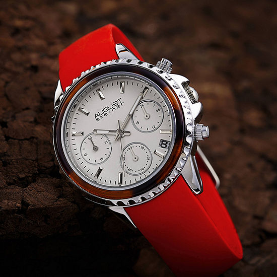 August Steiner Womens Red Strap Watch-As-8268rd