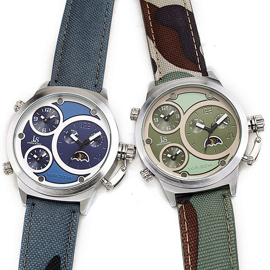 Joshua & Sons Mens Multi-Function Blue Leather Strap Watch-J-131bu