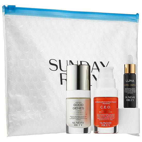 SUNDAY RILEY Power Trio: Lactic Acid + Retinol + Vitamin C Bundle