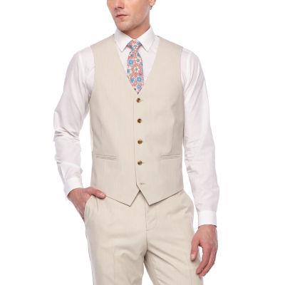 JF J.Ferrar Tan Stretch Suit Vest Classic Fit Stretch Suit Vest - Big and Tall