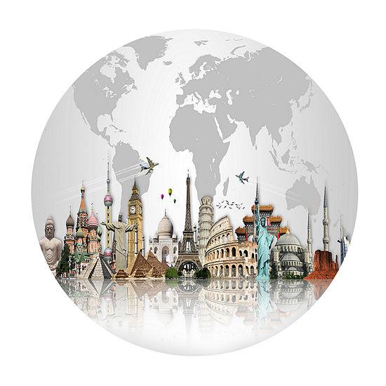 Design Art Famous Monuments Across World Circle Metal Wall Art