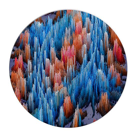Design Art Macro Render Structure Blue Red CircleMetal Wall Art