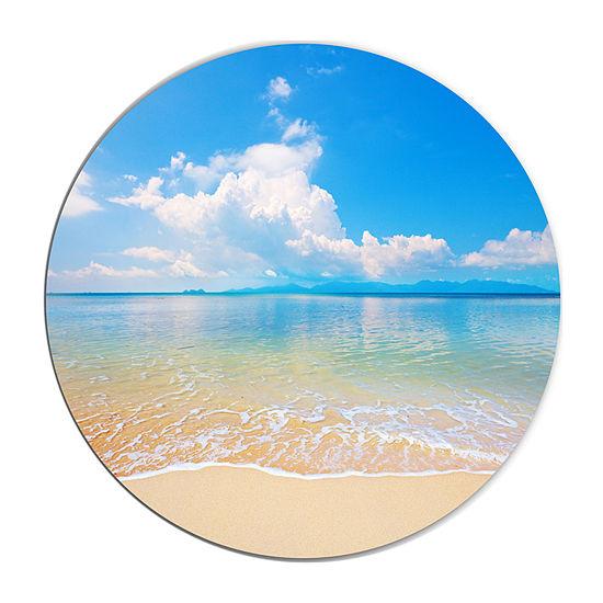 Design Art Large Clouds Over Calm Beach Seashore Photo Circle Metal Wall Art