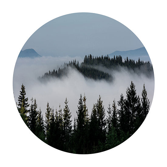 Design Art Dark Trees and Fog Over Mountains Ultra Vibrant Landscape Metal Circle Wall Art