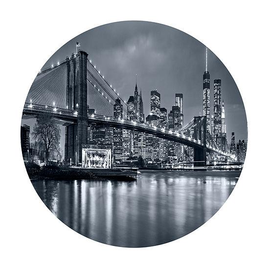 Design Art Panorama New York City at Night Ultra Vibrant Cityscape Metal Circle Wall Art