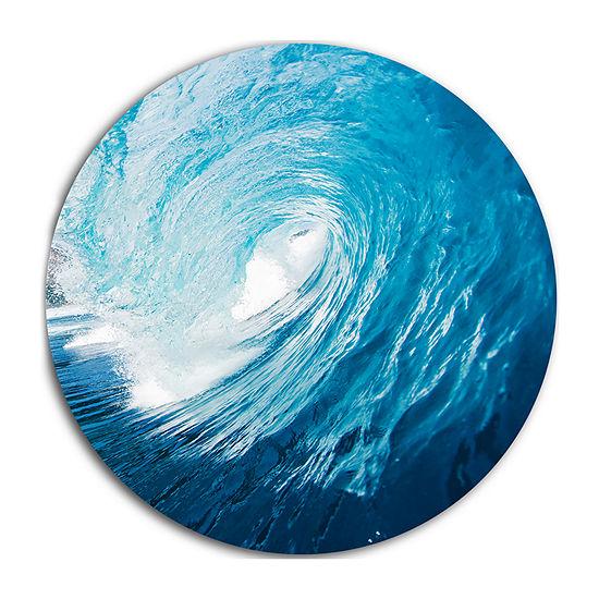 Design Art Ocean Waves in Hawaii Disc PhotographyCircle Metal Wall Art