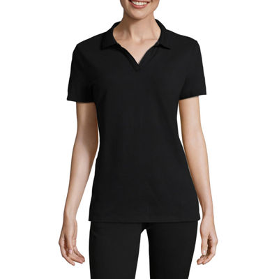 St. John's Bay Womens Short Sleeve Knit Polo Shirt Petite