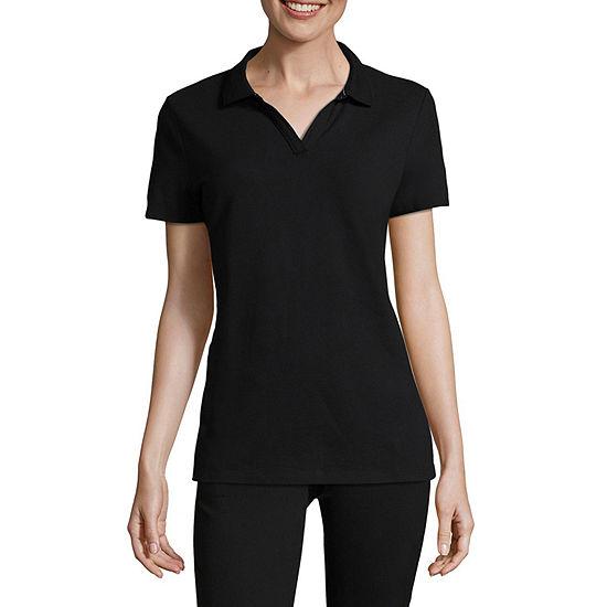 St. John's Bay Petite Womens Short Sleeve Knit Polo Shirt