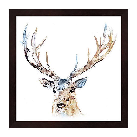 Metaverse Art Watercolour Reindeer Framed Wall Art