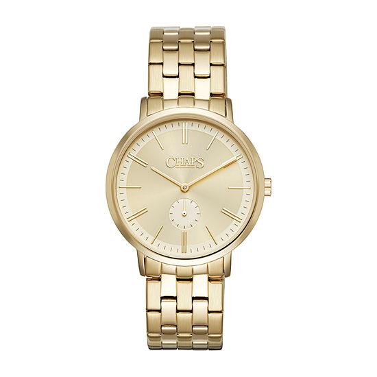 Chaps Dunham Mens Gold Tone Bracelet Watch-Chp7028
