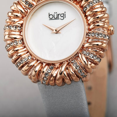 Burgi Womens Gray Strap Watch-B-255gy
