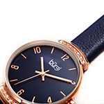Burgi Womens Crystal Accent Blue Leather Strap Watch-B-254bu