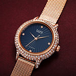 Burgi Womens Diamond Accent Crystal Accent Rose Goldtone Stainless Steel Bracelet Watch-B-250rgbu