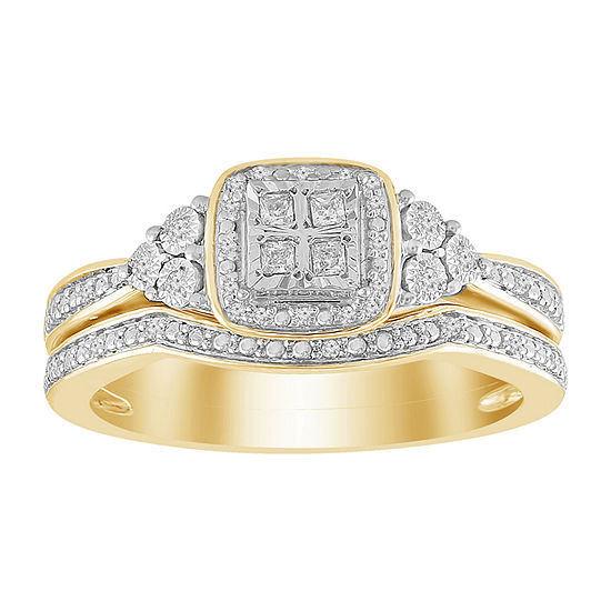 Womens 1 8 Ct Tw Genuine White Diamond 10k Gold Bridal Set