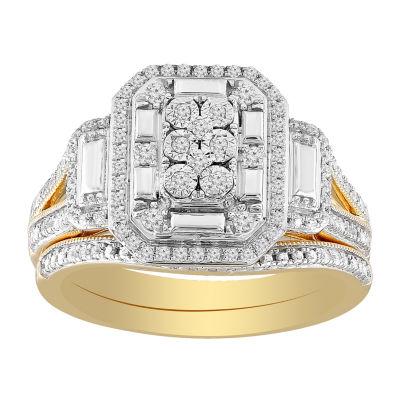 Womens 1/3 CT. T.W. Genuine White Diamond 10K Gold Bridal Set