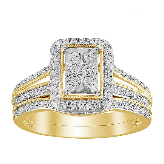 Womens 1/3 CT. T.W. Genuine White Diamond 10K Gold Bridal Set