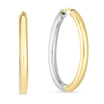 14K Two Tone Gold 24.5mm Hoop Earrings
