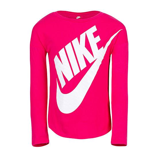 Nike Girls Crew Neck Long Sleeve Graphic T-Shirt - Preschool
