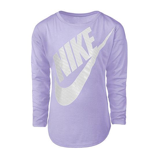 Nike Girls Round Neck Long Sleeve Graphic T-Shirt - Preschool