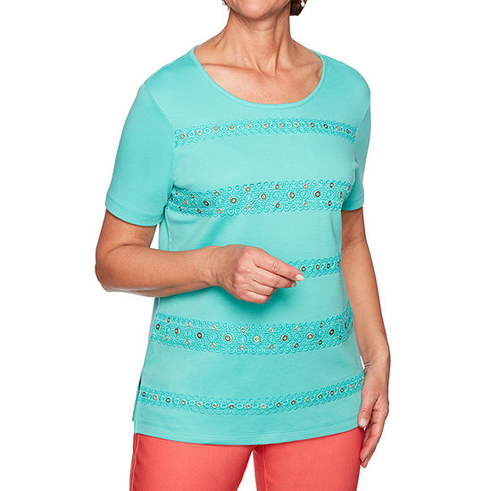 Alfred Dunner Coastal Drive-Womens Round Neck Short Sleeve T-Shirt Petite