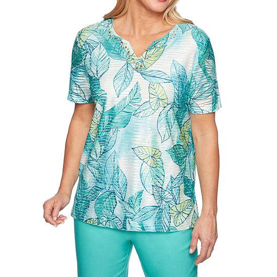 Alfred Dunner Coastal Drive Womens Split Crew Neck Short Sleeve T Shirt Petite