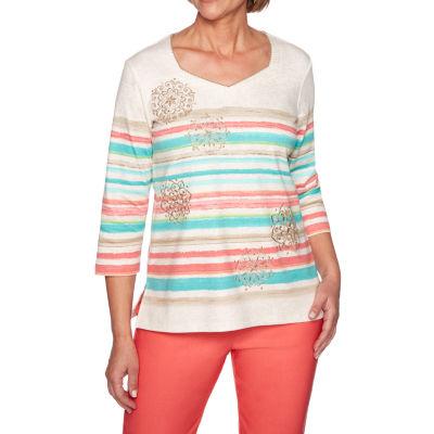 Alfred Dunner Coastal Drive-Womens Sweetheart Neck 3/4 Sleeve T-Shirt Petite
