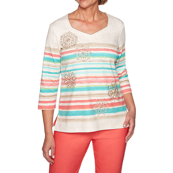 Alfred Dunner Coastal Drive Womens Sweetheart Neck 3 4 Sleeve T Shirt Petite