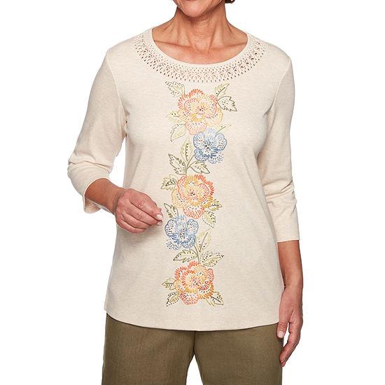 Alfred Dunner Lake Tahoe-Womens Round Neck 3/4 Sleeve T-Shirt Petite