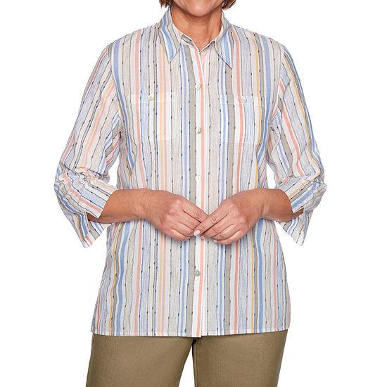 Alfred Dunner Lake Tahoe-Womens 3/4 Sleeve T-Shirt Petite