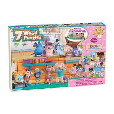 Disney Doc Mcstuffins 7 Wood Jigsaw Puzzles In Wood Storage Box