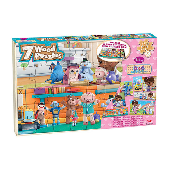 Disney Doc Mcstuffins 7 Wood Jigsaw Puzzles In Wood Storage Box