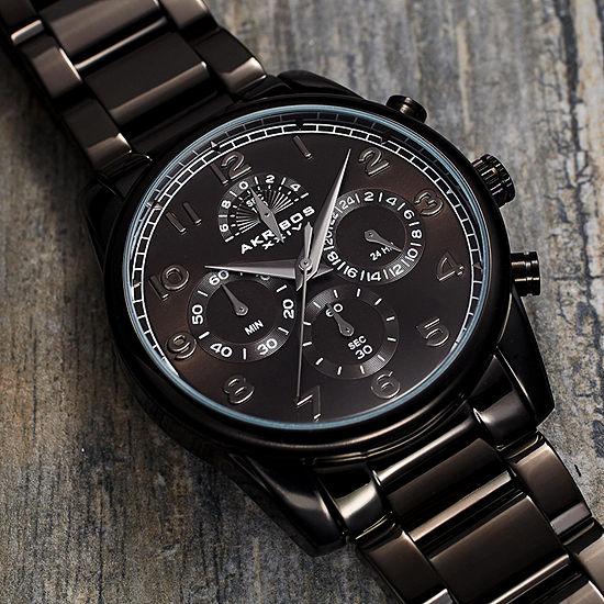 Akribos XXIV Mens Chronograph Multi-Function Black Stainless Steel Bracelet Watch-A-1042bk
