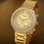 Akribos XXIV Mens Chronograph Crystal Accent Gold Tone Stainless Steel Bracelet Watch-A-1075yg