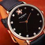 Akribos XXIV Womens Black Leather Strap Watch-A-1084bk