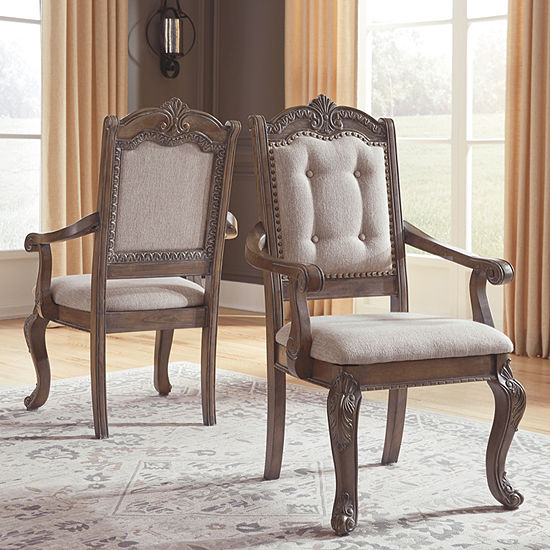 Signature Design by Ashley® Charmond Upolstered Dining Arm Chair-Set of 2