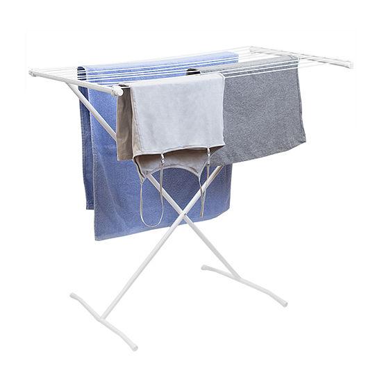Home Basics Folding 10 Rod Metal Clothes Drying Rack