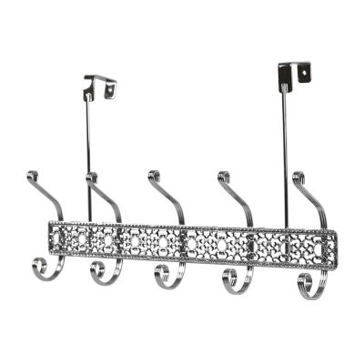 Home Basics 5 Dual Hook Chrome Plated Steel Over the Door Hanging Rack