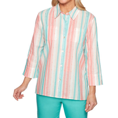 Alfred Dunner Coastal Drive Womens 3/4 Sleeve Blouse