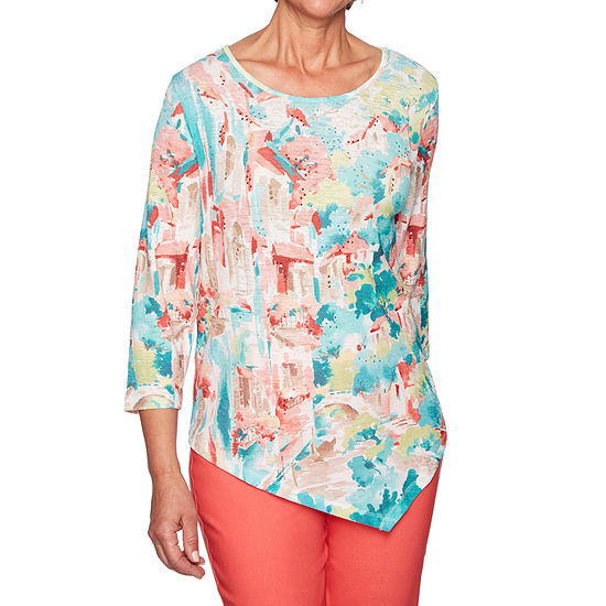 Alfred Dunner Coastal Drive-Womens Round Neck 3/4 Sleeve T-Shirt